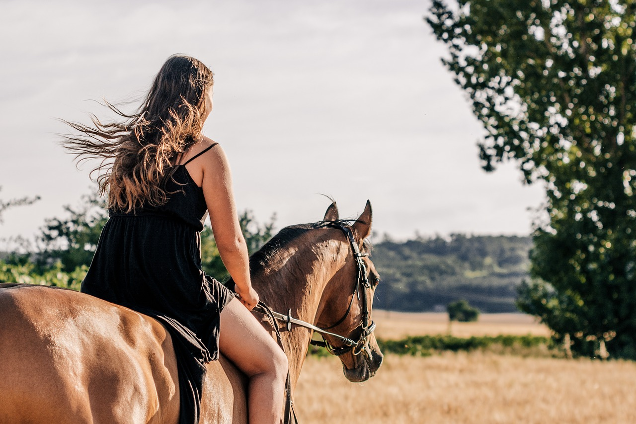 馬を乗りこなす女性